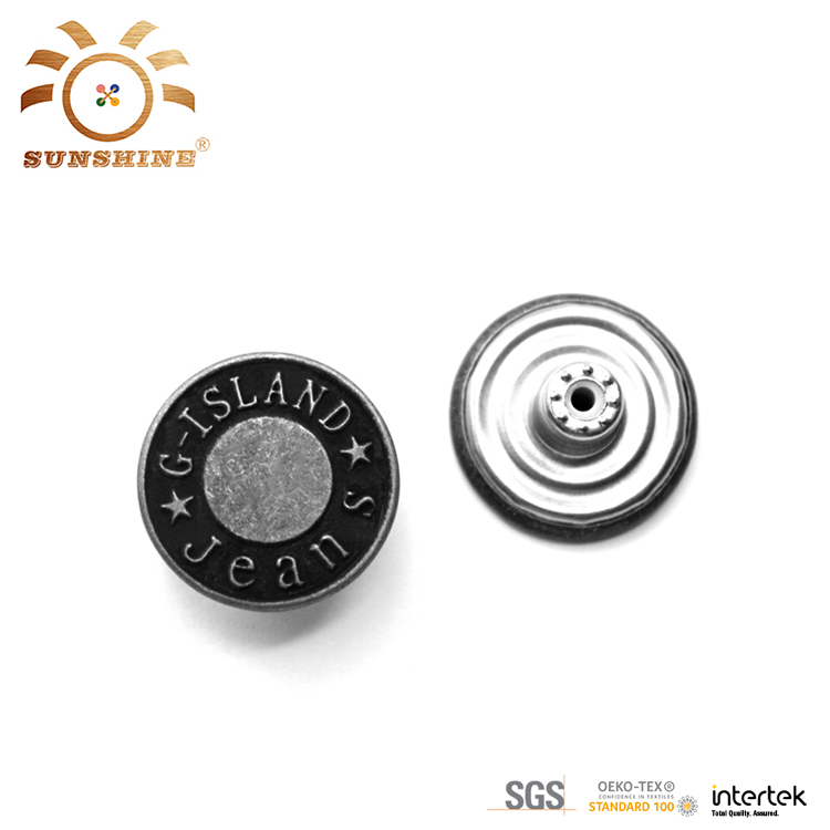 Brass antic silver shank metal button