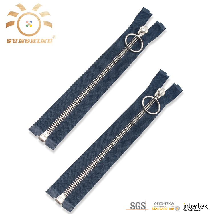 Round zipper puller dark blue zipper