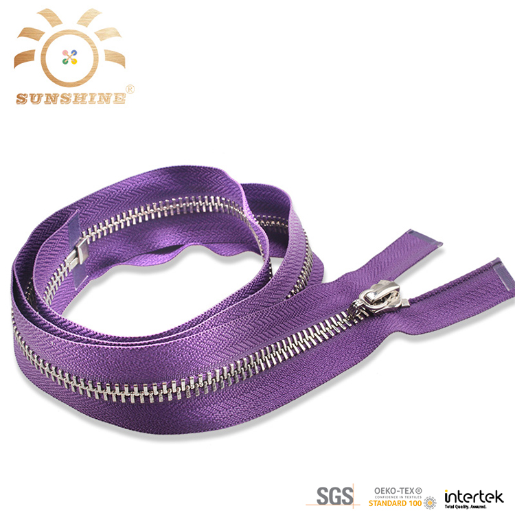 Purple metal zipper rolls