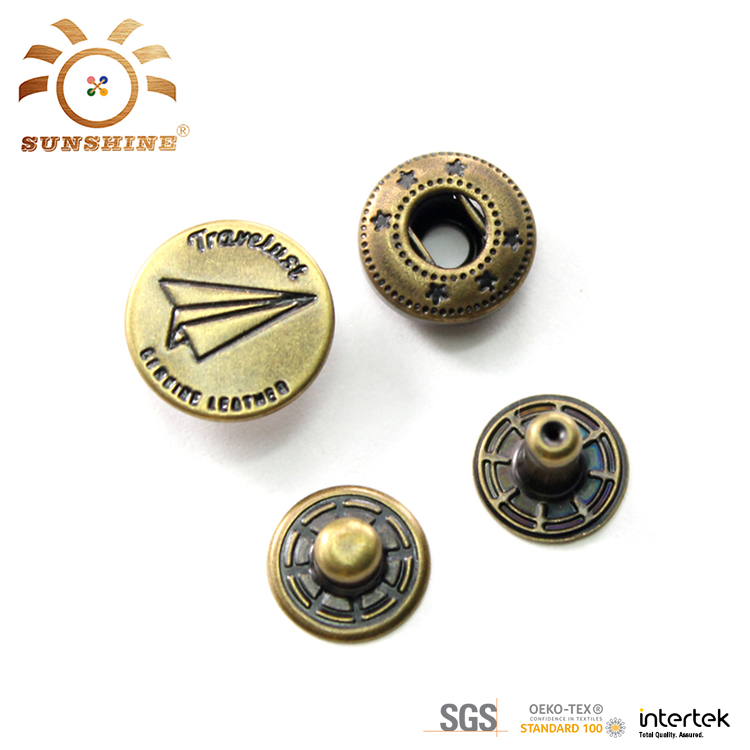Fashion custom four parts metal snap button for coat