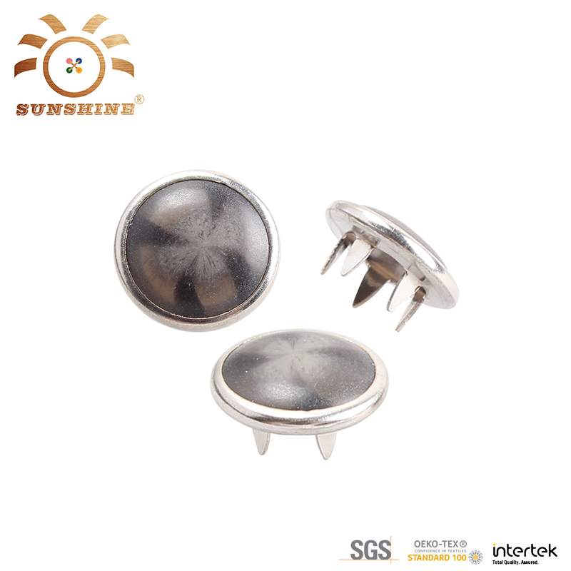 Grey pearl cap ring prong snap button for leather garment